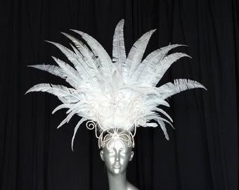 New headdres diamond white feathers