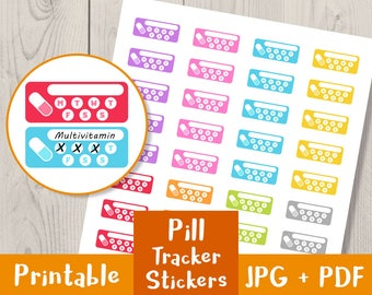 Pill Tracker Printable Stickers, Medicine Tracker, Health Planner, Self Care Printables, Planner Printables, Pill Stickers, Medicine Sticker