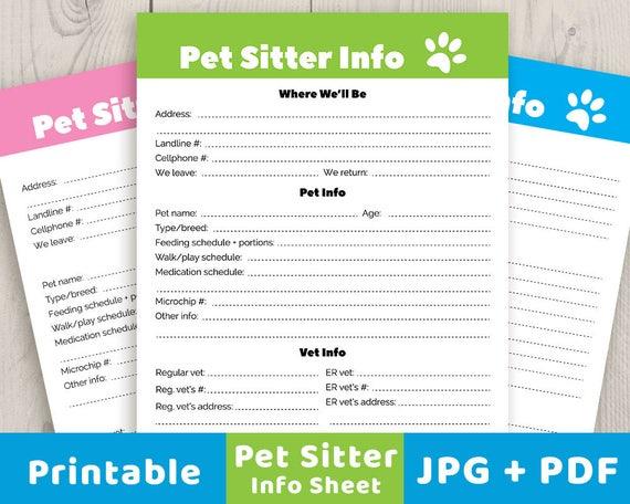 pet sitter info sheet printable pet info sheet pet sitter. Black Bedroom Furniture Sets. Home Design Ideas