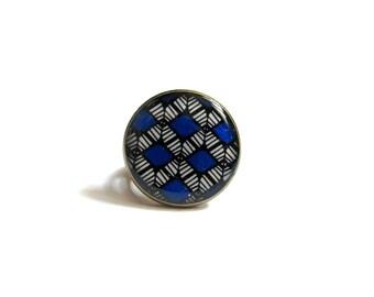 BLUE ring - BOHO RING - Shield Ring - Tribal Ring - Ethnic Ring - Big Boho Ring - Boho Jewelry - Tribal Jewelry - Ring for Women - for her