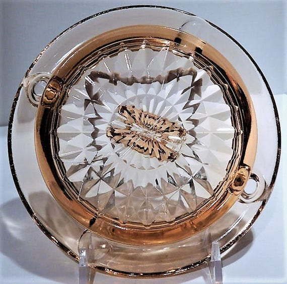 Smoking Tobacciana Ladies Pink Depression Glass Ashtray WINDSOR  Pattern 1930s Art Deco Vintage Collectible Home Decor Country Cottage
