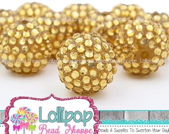 20mm gold rhinestone beads pave beads bumpy beads chunky bling beads resin
