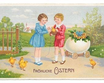 German Kids and Chicks Easter Postcard, c. 1920