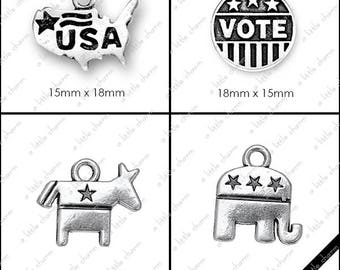 B-01-08 Word Charms, USA, VOTE, Democrat Donkey, Republican Elephant