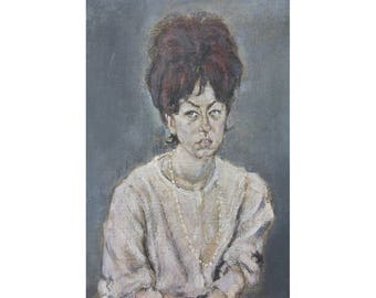 Vintage painting // 1960's 70cm x 58cm unframed signed portrait of a woman