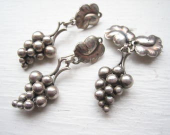 Georg Jensen jewelry, sterling silver grape set, sterling silver Georg Jensen grape earrings brooch, George Jensen set