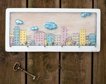 Wall Key Holder CITY, Family Key Organizer, Illustration on Wood, Wooden, Wall Decor, Key board, Key Hanger, Housewarming Gift