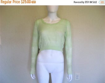 ON SALE Light Lime Green Knit Cropped Sweater