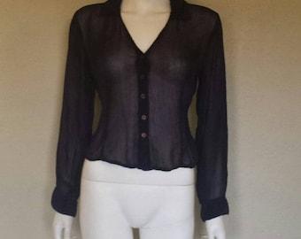 Sheer print button down rayon blouse Sz large