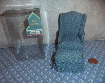 1:12 scale Dollhouse Miniature Vintage Wing Back Chair w/ottoman