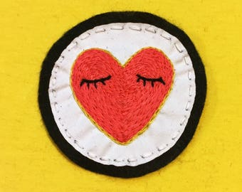 Pink Heart Patch • Hand Embroidered