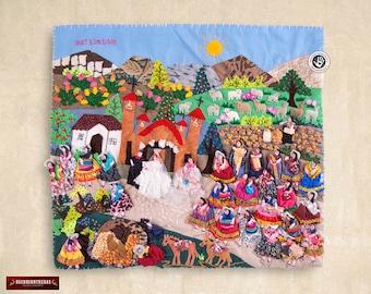 Wall Hanging Quilt 17.7x19.7in - Wedding Arpillera - 3D peruvian textile artwork- Embroidered appliques of fabric - Arpillera from Peru