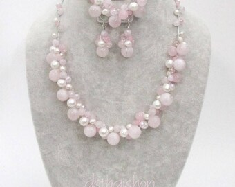 Wedding Set, Rose Quartz Necklace with Pearl by Silk Thread, Earring, Silver Ear Wire
