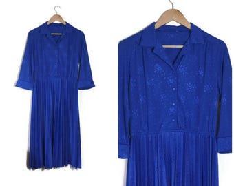 Blue 80s dress / boho pleated blue midi dress / mid length blue retro dress / festival boho dress / blue shirt dress / plain blue dress /