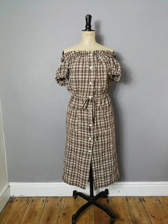 90s off the shoulder dress / vintage Bardot dress /  brown checked button up dress / Elasticated shoulders / 90s checked summer dress UK 10