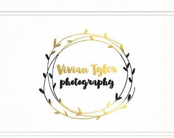 ON SALE Premade Photography Gold Logo + Watermark with Wreath - L052