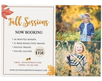 Autumn Marketing Board Design, Fall Template, Fall Mini Sessions, Template Photography Marketing board, Autumn Template Design, m146