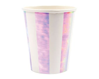 Pink Iridescent Paper Cups (Set of 8) - Meri Meri 9oz Beverage Cups, Hot or Cold