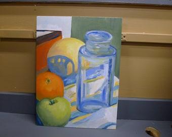 Original painting: fruit and blue jar still life
