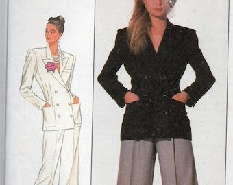 Vintage 1988 Simplicity Cathy Hardwick Pattern 8857  Very WIDE Legged PANTS & Jacket Misses Size 10