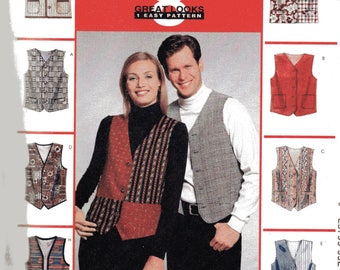McCall's 8 Great Looks Pattern 6228 LINED VESTS Misses/Men's Sizes Medium 34-36