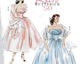 Retro Butterick '50 Pattern 6454 STRAPLESS DRESS & SHAWLS  Misses Sizes 14 16 18 20 22
