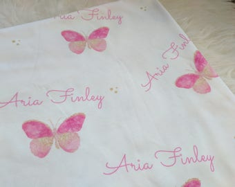 Personalized butterfly swaddle blanket: baby and toddler personalized name newborn hospital gift baby shower gift