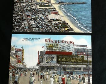 Two Postcards Of Atlantic City, N.J. Made By E.C. Kropp Co., Milw., Wis. One Showing Steel Pier And One Convention Hall