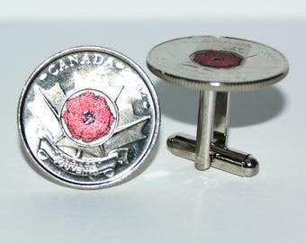 2004 Canadian Poppy Quarter Cufflinks 25 cent coin Free gift bag Birthday Gift Idea