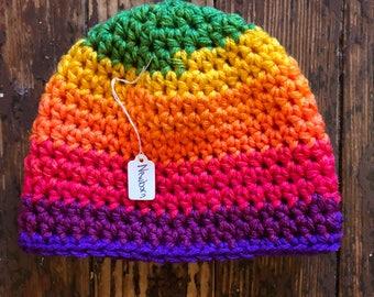 Classic beanie crocheted hat newborn rainbow colors (buy one donate one)