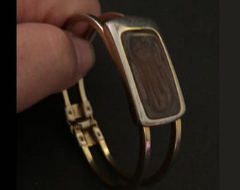 "Hinged Bangle Bracelet, Vintage Clamper Clasp Bracelet, Art Glass ""Stone"", Brown/Sparkly, 1970s Boho, Hippie Bracelet"
