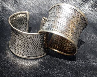 Woven Silver Cuff Bracelets, Handmade, Pair or Individual