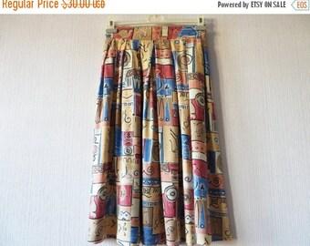CIJ SALE Vintage 80s Pleated Skirt Elastic Waist Skirt Geo Print Skirt Knee Length Skirt Viscose Skirt Women Summer Skirt Made in UK Medium