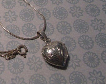Sterling Silver Etched Puffy Heart Locket Pendant Only