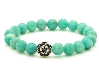 Amazonite Lotus Bracelet on stretch cord