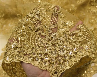 Gold 51'' Adrianna Embroidered Flower with Sequins Scalloped Edge Lace Fabric by the Yard- Style 5003