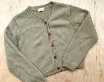 SUMMER SALE 1990's sage green woolen cardigan •  small