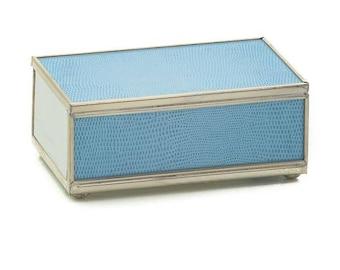 Blue Lizard Print Metal and Glass Matchbox Cover