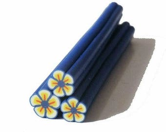1 x blue/yellow flower fimo cane