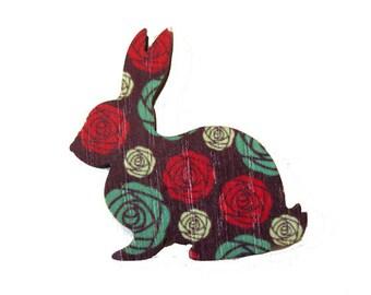 Rabbit wood printed 36mmx36mm Non pierced.
