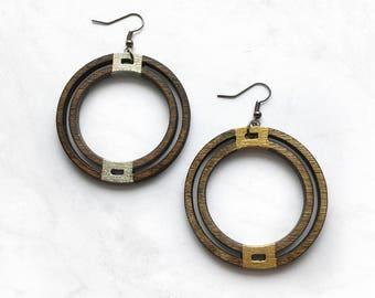 Double Hoop Earrings -  Wood Earrings, Wood Jewelry, Laser Cut Earrings, Gift for Women, Laser Cut Jewelry, 5th Anniversary Gift, Bohemian
