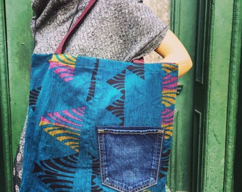 Graphic Upcycled Tote