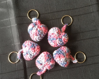 Crochet Heart Keyring - Pink/Blue