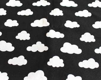 Fabric upholstery black clouds 70 x 50 cm