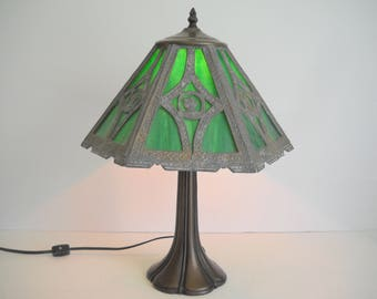 Slag Lamp with Green Stained Glass Panels