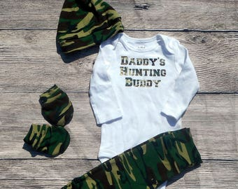 Daddy's Hunting Buddy Camo Camouflage Going Home Outfit Baby Set