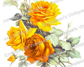 Vintage Victorian Shabby Yellow Tea Roses Waterslide Decals FL499 U PIC SIZE