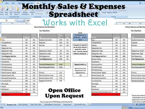 tax expense categories spreadsheet