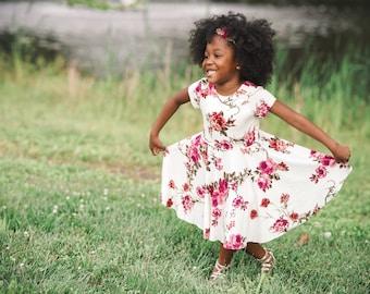 Girls' Magenta Bouquet on Ivory Bespoke Dress