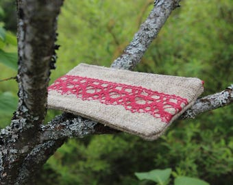 Linen Lipstick Case decorated with Red Linen Lace